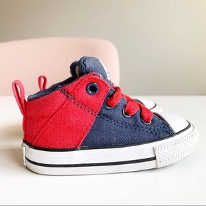 Converse All Star Child Mid Top Blue Red Shoes C4